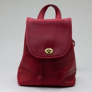 Vintage Coach Red Leather Mini Back Pack #9960